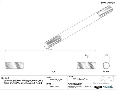 1-3//4 Overall Length Threaded Stud #8-32 Threads 303 Stainless Steel 1//2 x 7//32 Threaded Lengths