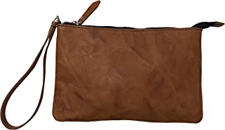 Borsetta pochette borsa a mano in vera pelle riciclata stropicciata effetto vintage Col. Spiaggia fatto a mano in Italia M...