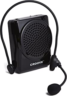 Croove Rechargeable Voice Amplifier, with Waist/Neck Band & Belt Clip, 20 Watts Headset
