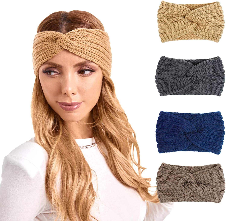 DIASHINY 4 Pack Women Bow Crochet Winter Headbands Knitted Ear Warmer Twist Head Wrap