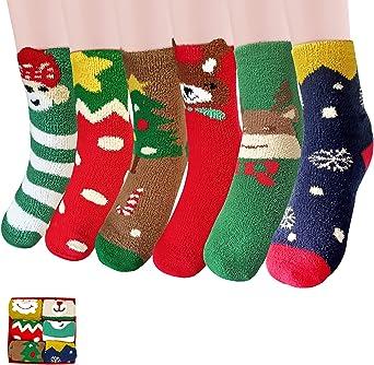 Fluffy Socks Christmas 6 Pairs, Cosy Fleece Fuzzy Socks, Cute Winter Warm Bed Socks, Christmas Set for Women Girls Ladies Kids