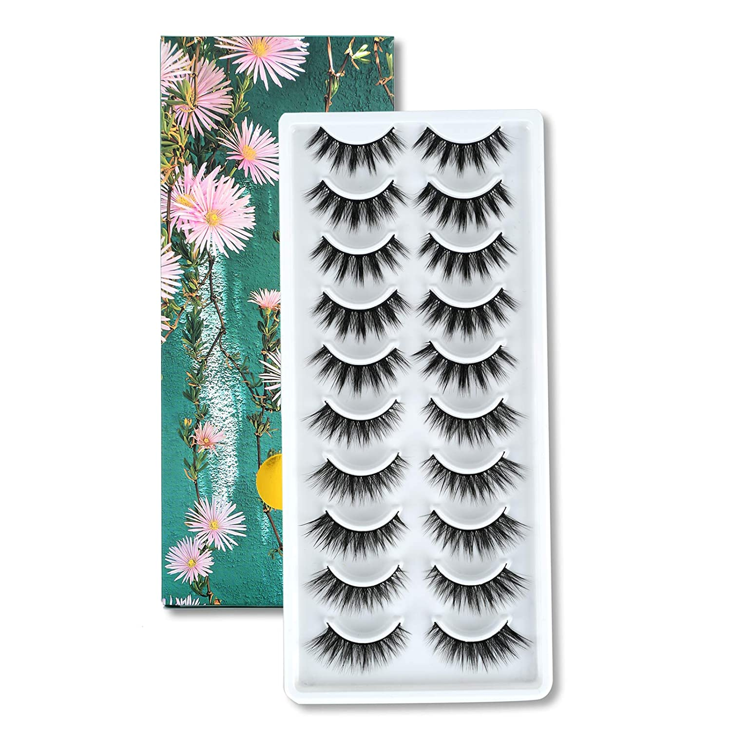 MILUOTUO 10 Mail order Pairs Fluffy False Regular store Eyelashes Stri Faux Natural Mink