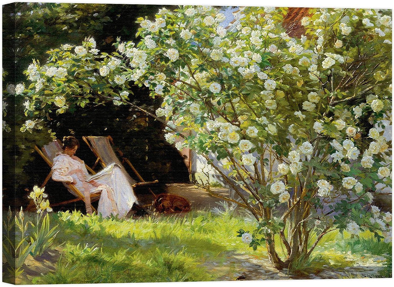 Rahmen Druck auf Leinwand mit Rahmen in Holz Peder Severin Severin Severin Krøyer Seated in the Garden of Rosas 100x75 CM B07CK9H465 | Großhandel  42f34a