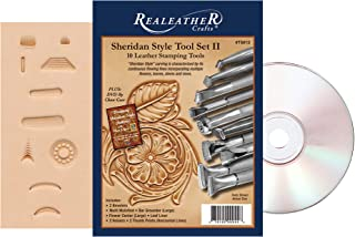 Realeather T5012 II Sheridan Style Set with 10 Stamping, Pattern with Tool Guide, and Instructional DVD