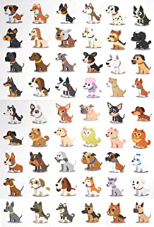 Fiomia Dogs Temporary Tattoo cartoon Sticker Face Decal Body Glitter for children kids girls Waterproof Removable 54 Designs 3 Sheets