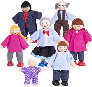My Doll Family | Wooden Cloth Dolls Compatible with Most Doll Houses Perfect for Kids & Toddlers, Comes with 7 Dolls Great...