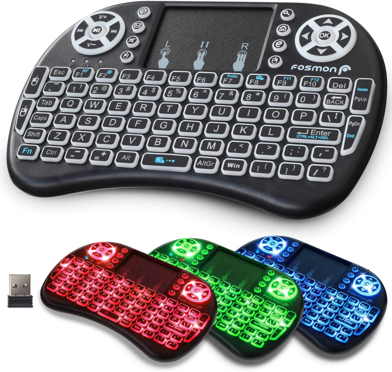 Fosmon Wireless Keyboard with Touchpad and RGB Backlight, Mini Portable 2.4GHz USB Adapter Keyboard, Rechargeable Battery, Adjustable DPI, Compatible with PC/Mac, Smart TVs, PS3/PS4, Xbox360, and more