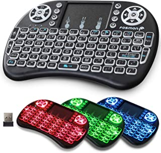 Fosmon Wireless Keyboard with Touchpad and RGB Backlight, Mini Portable 2.4GHz USB Adapter Keyboard, Rechargeable Battery,...