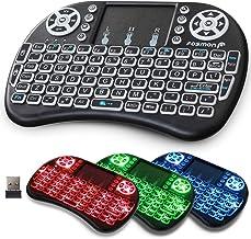 صفحه کلید بی سیم Fosmon با تاچ پد و نور پس زمینه RGB ، صفحه کلید آداپتور USB مینی قابل حمل 2.4 گیگاهرتز ، باتری قابل شارژ ، DPI قابل تنظیم ، سازگار با PC / Mac ، تلویزیون های هوشمند ، PS3 / PS4 ، Xbox360 و موارد دیگر