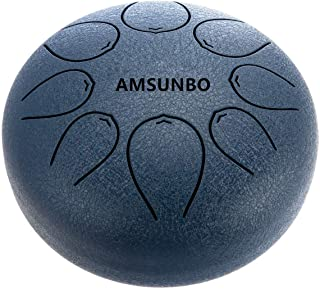 AMSUNBO Brand Steel Tongue Drum Blue Chakra 8 inch with Free Black Bag and Mallets