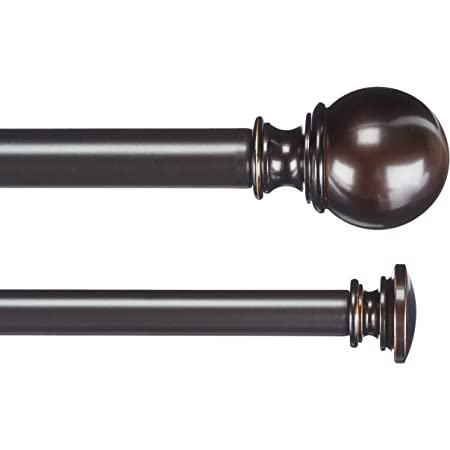 """Amazon Basics 1"""" Double Extendable Curtain Rods with Round Finials Set, 72"""" to 144"""", Dark Bronze (Espresso)"""
