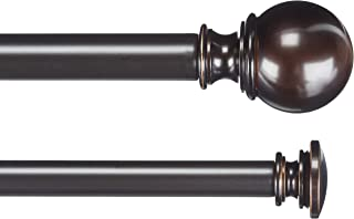 AmazonBasics 2,54 cm Double Curtain Rod with Round Finials, 0,9 to 1,83 m, Bronze