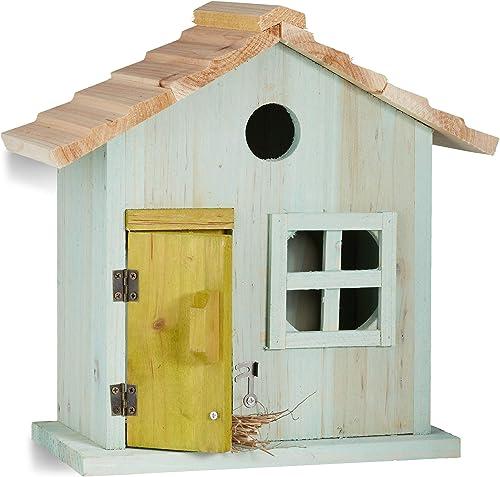 Relaxdays Nichoir à oiseaux en bois forme de maison avec porte et fenêtre HxlxP: 25,5 x 15,8 x 13 cm, bleu clair