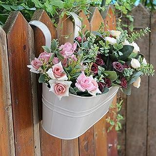 SLDHFE Lot de 2 pots de fleurs à suspendre, multicolores, seau en métal avec double crochets amovibles pour clôture, terra...