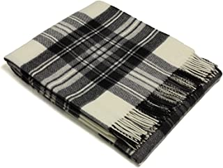 Tartan - Merino Lambswool - Dress Grey Stewart - Throw Blanket
