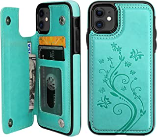 iPhone 11 Case Wallet with Card Holder, Vaburs Embossed Butterfly Premium PU Leather Double Magnetic Buttons Flip Shockproof Protective Cover for iPhone 11 6.1 Inch(Green)