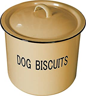Creative Co-Op DA1981 Yellow Metal Dog Biscuit Container with Lid &