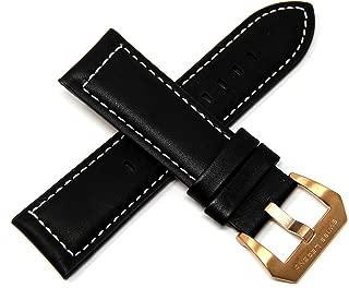 Swiss Legend 26MM Black Leather Watch Strap, Rose Gold Buckle fits 52mm Pilot & Highlander Watch