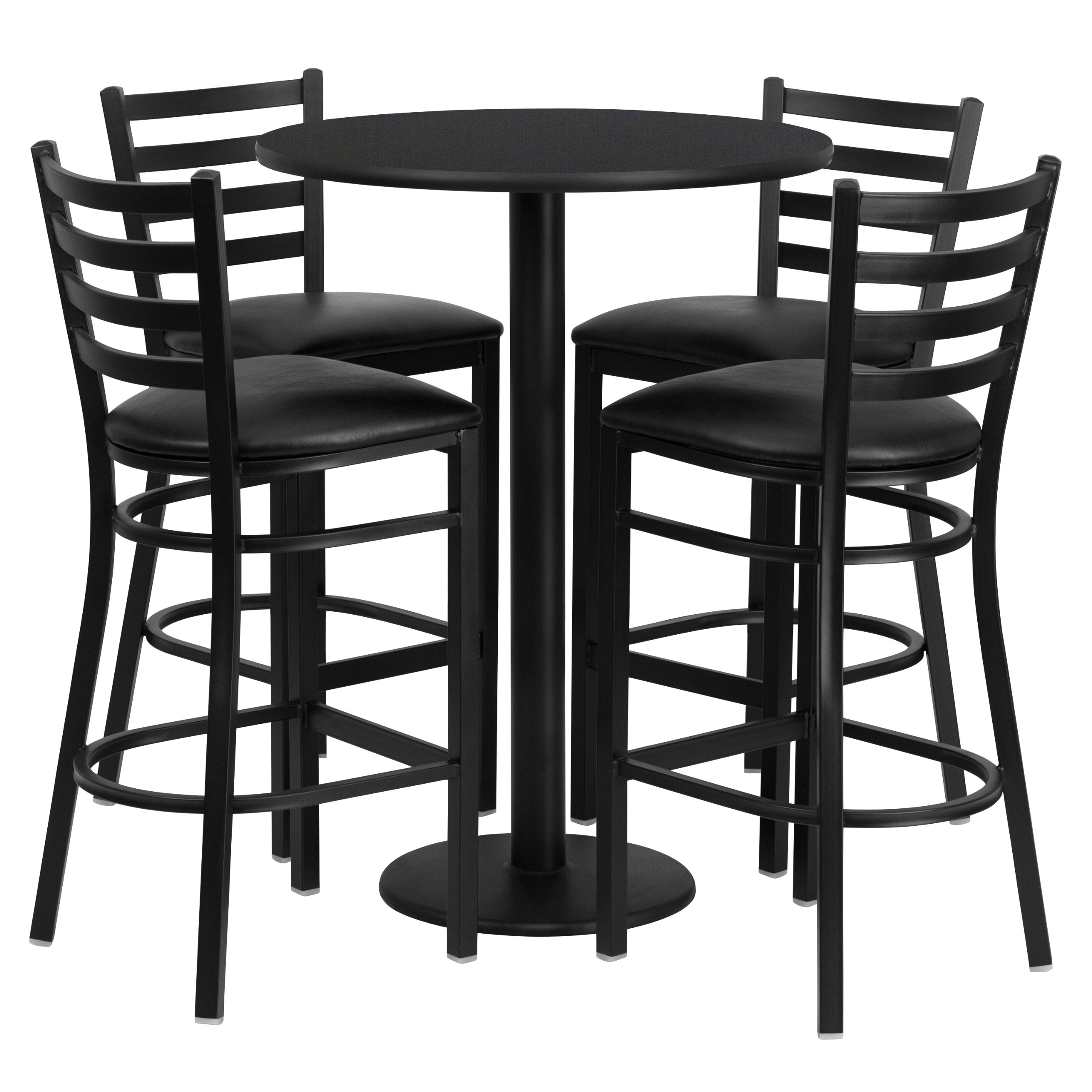Flash Furniture 30u0027u0027 Round Black Laminate Table Set with 4 Ladder Back Metal Barstools  sc 1 st  Amazon.com & Restaurant Tables and Chairs: Amazon.com