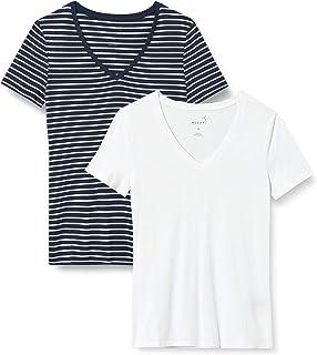 MERAKI T-Shirt Scollo a V Donna, Pacco da 2