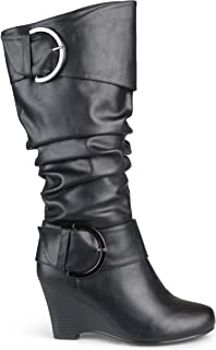 Womens Buckle Tall Faux Leather Boots