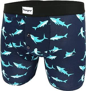 Mens Pouch Boxer Briefs Button Fly Shark Attack Solar Astronaut Trunks Underwear