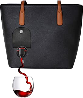 PortoVino Wine Purse (Black) - Fashionable purse with Hidden, Insulated Compartment, Holds 2 bottles of Wine!