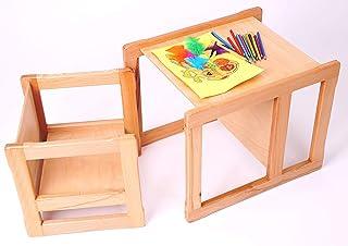 Muebles inteligentes 3 en 1 para niños. Muebles multifuncionales. Silla y mesa. Madera de haya. Sin esquinas afiladas. Muebles ahorradores de espacio. 50 x 40 x 40 cm + 34 x 34 x 34 cm.