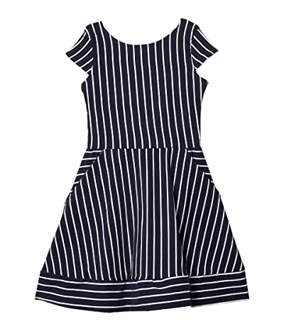 fiveloaves twofish Kate Stripe Fit-and-Flare Dress (Big Kids) (Navy) Girl