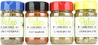 Paleo - Whole 30 - Spices by PALEO LIVING PRIMAL BLENDS Collection {4-Combo Pack & Meal Prep Container} can be used for Cooking, Grilling, Baking, & with Cookbooks (Limited Edition Set