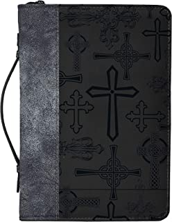 Cross Design Midnight Black and Silver Tone X-Large Faux Leather Bible Cover