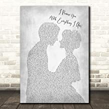 I Promise You (with Everything I Am) Man Lady Bride Groom Wedding Grey Wall Art Poster Gift Present Print