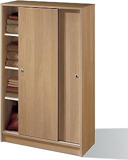 comprar comparacion Armario Auxiliar Zapatero Multiusos Roble de 2 Puertas correderas, estantes Regulables para Oficina, despensa, Cocina. 120...