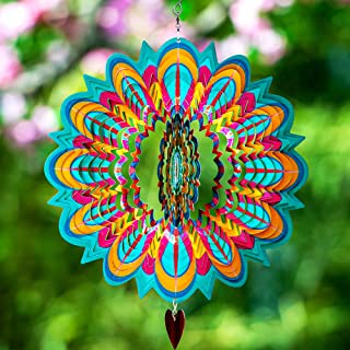 SteadyDoggie Wind Spinner Mandala Flame 12 inches – 3D Stainless Steel – Laser Cut Metal Art Geometric Pattern - Hanging Wind Spinner, Kinetic Yard Art Decorations - Indoor/Outdoor Décor