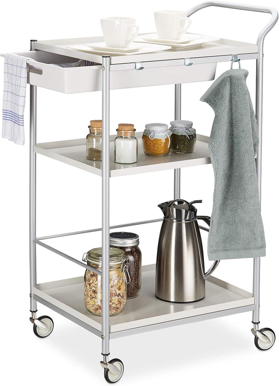 Relaxdays 10024553 Servierwagen Stahl, ausziehbare Schublade, 360° drehbare Rollen, Küchenwagen, HxBxT  95x56x38 cm, wei grau