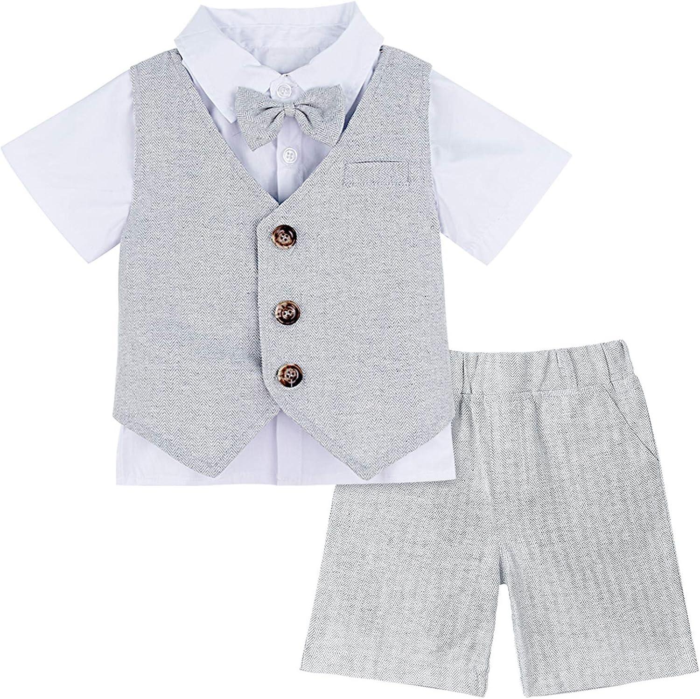 A&J DESIGN Baby & Toddler Boys Gentleman Suit, 3pcs Shorts Sets Shirts & Vest & Shorts