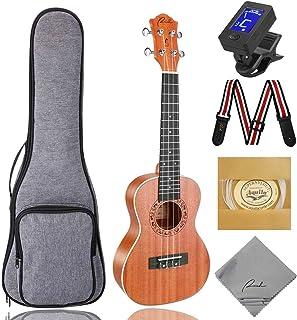 Best Concert Ukulele Ranch 23 inch Professional Wooden ukelele Instrument Kit with 12 Free Online Lessons Small Hawaiian Guitar ukalalee Starter Pack Bundle Gig bag & Tuner & Strap & Aquila Strings Set Review