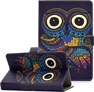 Coopts 9.5-10.5 Inch Tablet Universal Case Cover, Kickstand Slim Shell with Card Slots Folio Wallet Pocket for Fire HD 10/iPad Air/Google Nexus/RCA 10 Viking Pro/Viking II Pro and More,Owl Print