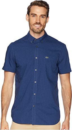 Short Sleeve Regular Fit Gingham Poplin Button Down