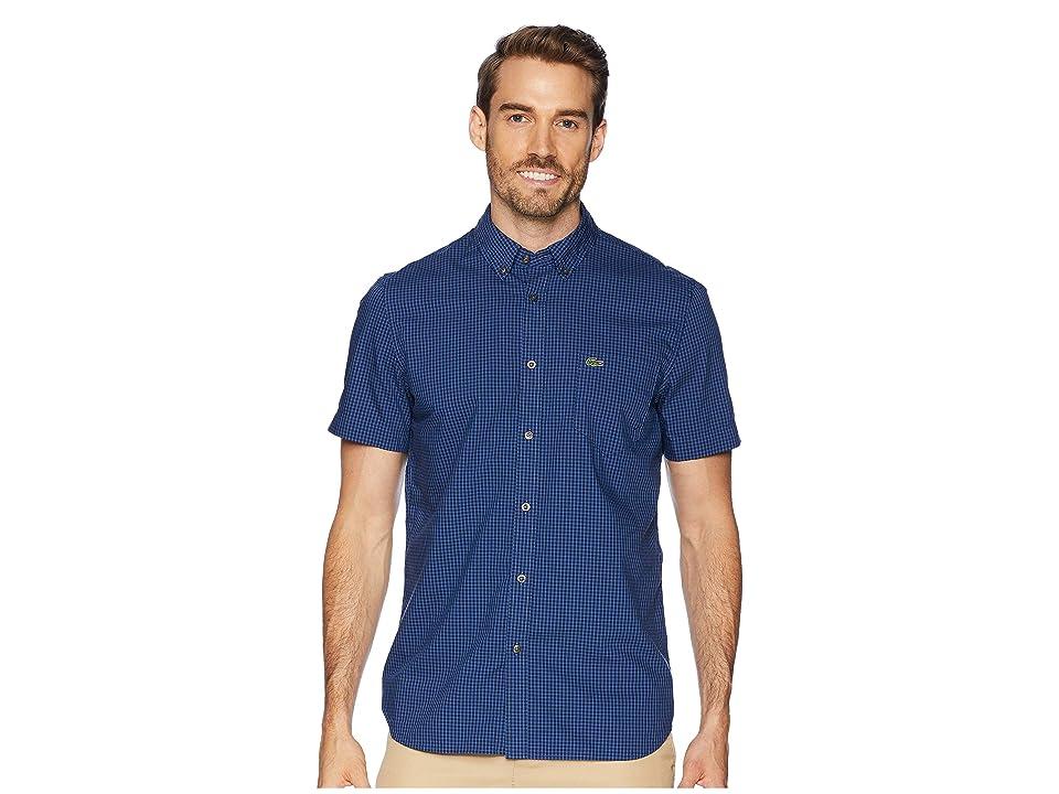 Lacoste Short Sleeve Regular Fit Gingham Poplin Button Down (Navy Blue/Iodine) Men