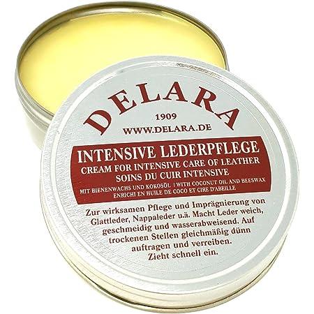 DELARA Entretien intensif du Cuir, incolore, 75 ML - Imprègne et protège Le Cuir très efficacement, Nouvelle Formule à Base d'huile de Coco et Cire d'abeille de Haute qualité - fabriqué en Allemagne
