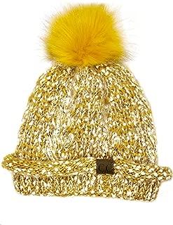 C.C Faux Fuzzy Fur Pom Thick Popcorn Knit Eyelash Confetti Skull Cap Cuff Beanie