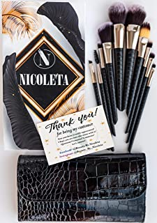 Professional Makeup Brush Set Collection, 10pcs Set High End Cosmetic Brush with Bag, Cruelty Free Synthetic Soft Bristles...