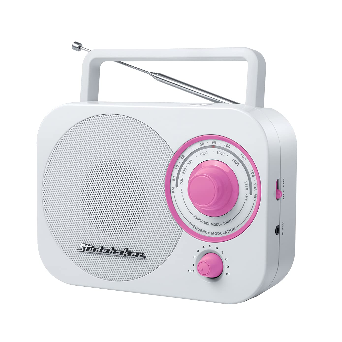 Studebaker Pink Radio SB2000 White/Pink Retro Classic Portable AM/FM Radio with Aux Input (Limited Edition Color)