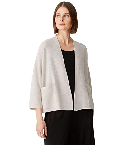 Eileen Fisher Cardigan with 3/4 Sleeves in Organic Linen Cotton Twist
