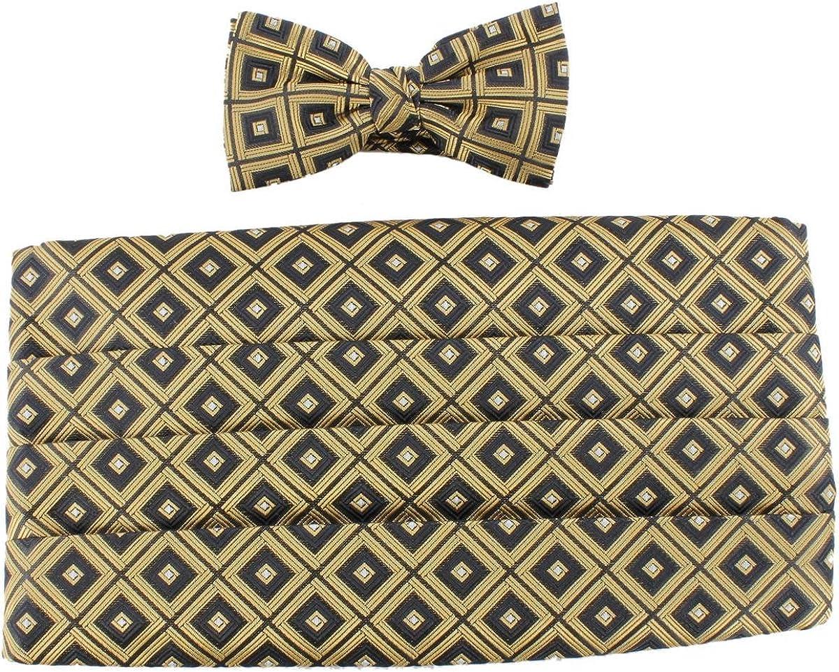 Knightsbridge Neckwear Mens Bow Tie and Cummerbund Set - Gold/Black