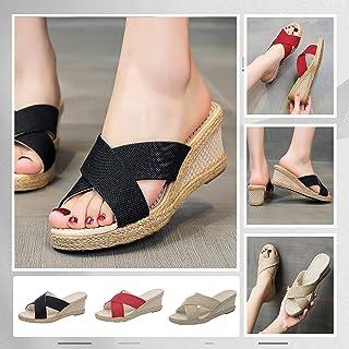 UULIKE Sandales Compensées pour Femmes,Poisson Bouche Pantoufles Sandales pour Femmes,Chaussures Plates de Braided Sandale...