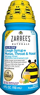 Zarbee's Naturals Children's All in One Cough Syrup + Mucus, Throat & Nasal, Natural Grape Flavor, 4 Ounce