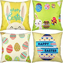 Chuangdi 4 Pieces Easter Pillow Case Printed Rabbit Egg Cushion Cover Holiday Pillow Decoration for Easter Supplies (Set 2)