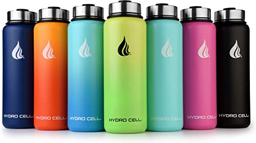 HYDRO CELL Stainless Steel Water Bottle w/Straw & Wide Mouth Lids (40oz 32oz 24oz 18oz) - Keeps Liquids Hot or Cold with Double Wall Vacuum Insulated Sweat Proof Sport Design product image
